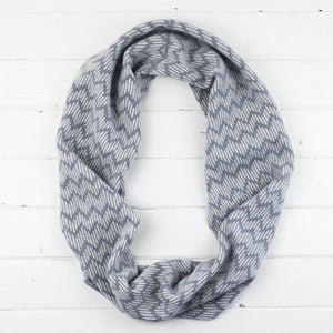 Zig zag circle scarf - seal and white