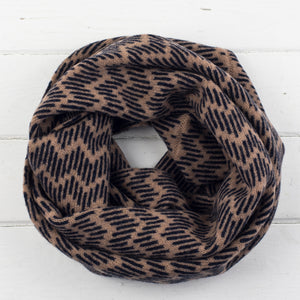 Zig zag circle scarf - camel and navy