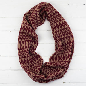 Mirror circle scarf - magma and camel