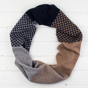 Triangle circle scarf - camel/navy/grey