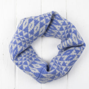 Mirror snood / cowl - purple and grey