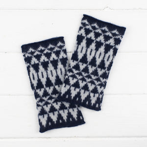 Mirror wristwarmers - navy and grey