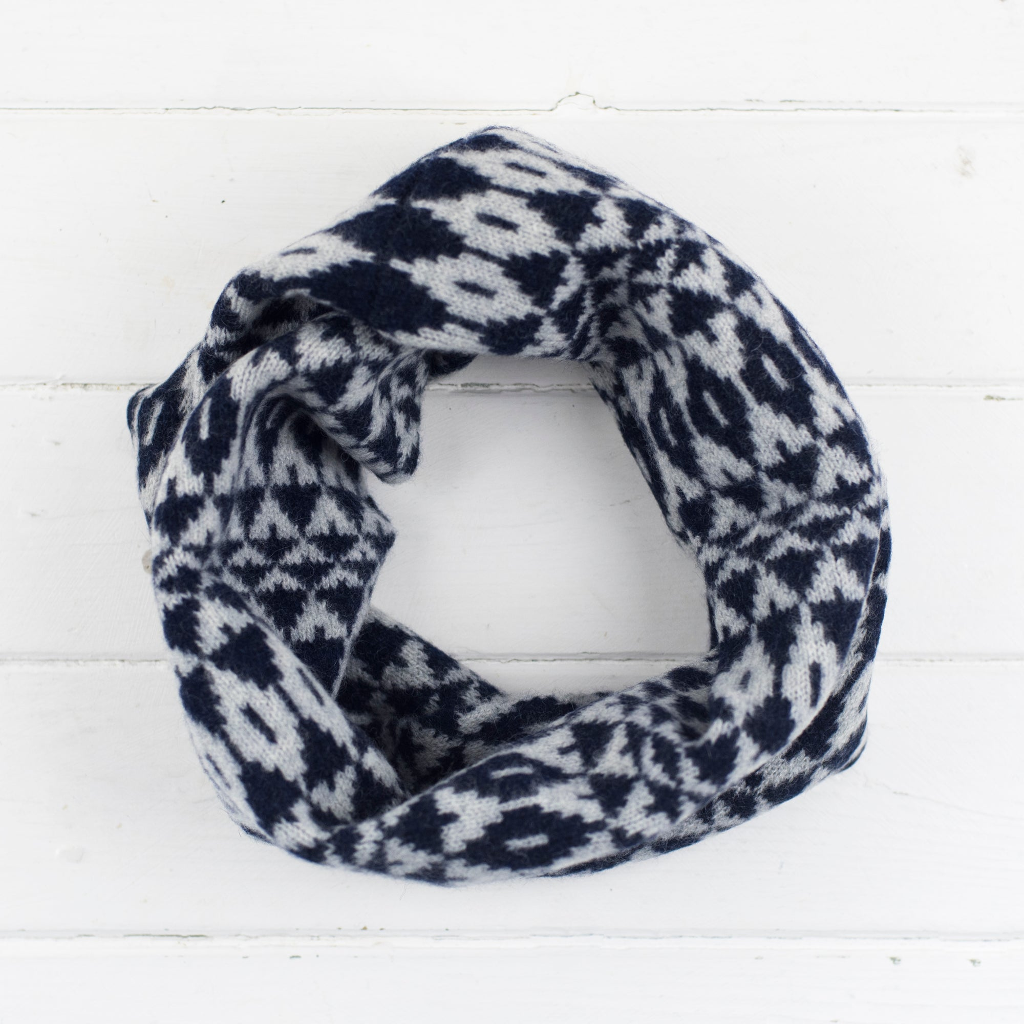 Mirror snood / cowl - navy and grey