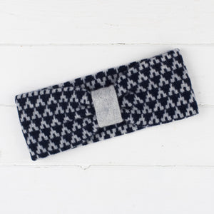 Arrow knitted headband - navy and grey