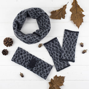 Leopard cowl, headband + wristwarmers set - grey