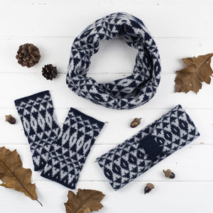 Mirror cowl, headband + wristwarmers set - navy and grey