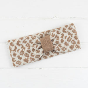 Leopard cowl, headband + wristwarmers set - cream