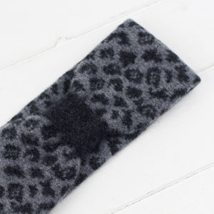 Leopard headband - grey