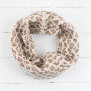 Leopard snood / cowl - cream