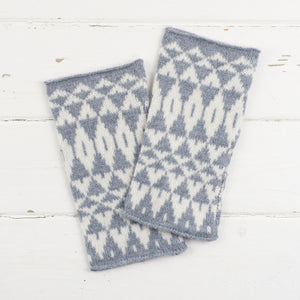 SAMPLE SALE Mirror wristwarmers - seal and white