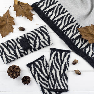 Zebra wrap, headband + wristwarmers set