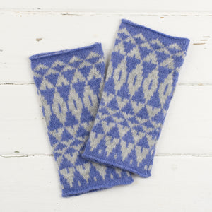 Mirror wristwarmers - purple and grey