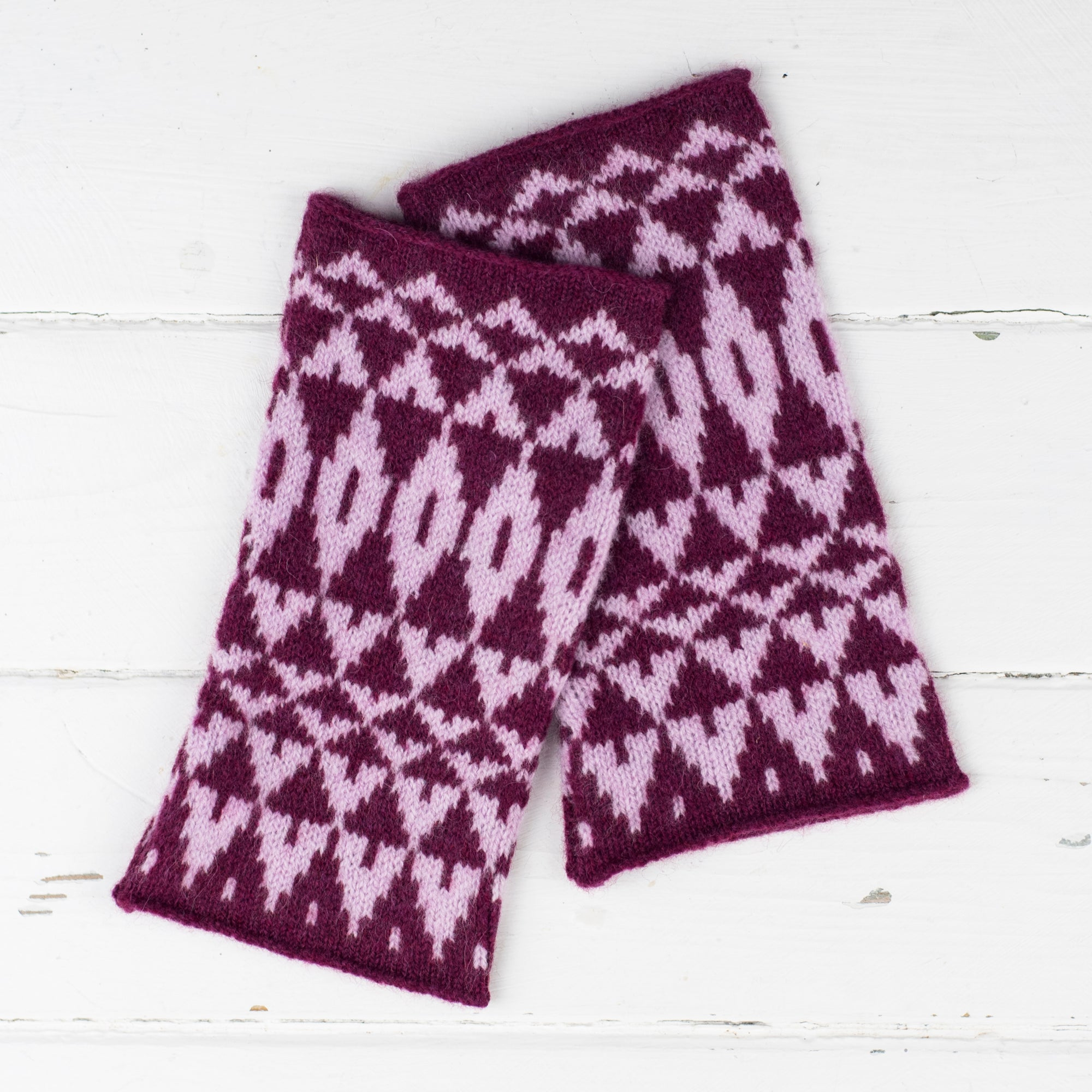 Mirror cowl, headband + wristwarmers set - berry