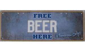 Australian Novelty Tin Number Plate FREE BEER HERE 380mm x 130mm