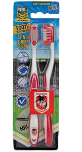 St George Illawarra Dragons Adults & Kids Official NRL Toothbrush Twin Pack