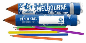 North Melbourne Kangaroos Official AFL Tube Pencil Case with 6 Colour Pencils
