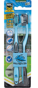 Cronulla Sharks Adults and Children Official NRL Toothbrush Twin Pack