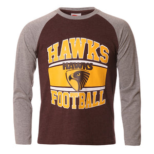 Hawthorn Hawks Long Sleeved Youth T-Shirt Official AFL