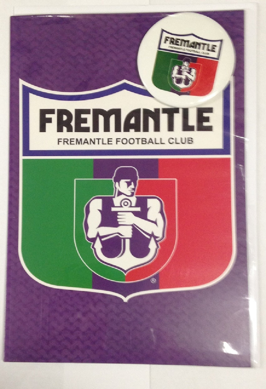 Fremantle Dockers Official AFL Greeting Card with Pin On Metal Badge