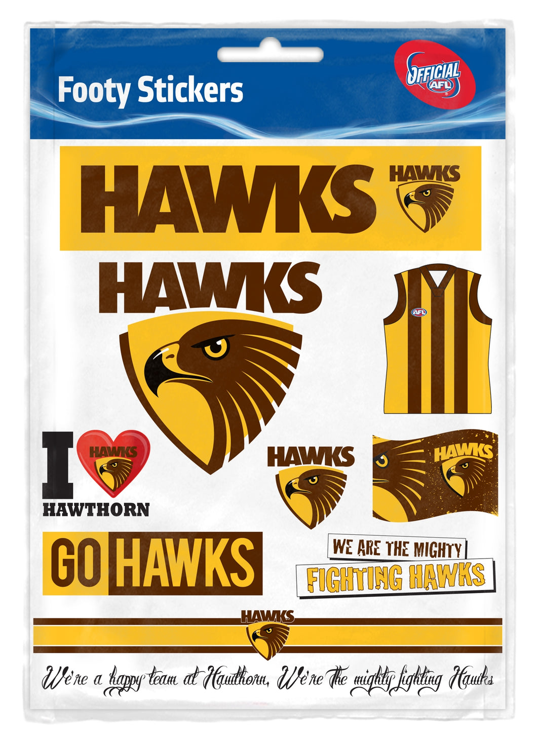Hawthorn Hawks Official AFL Logo Sticker Sheet