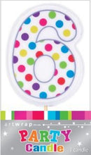 Load image into Gallery viewer, Polka Dot Number 6 Cake Candle Birthday Celebration Party 6.5cm Topper