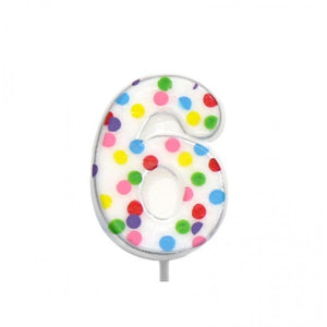 Polka Dot Number 6 Cake Candle Birthday Celebration Party 6.5cm Topper