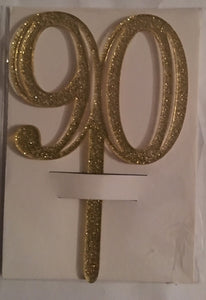 Gold Acrylic 90th Birthday 90 Cake Topper