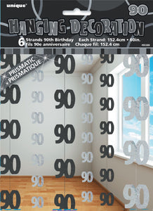 90th Birthday Black/Silver Hanging Decoration Strands Pack 6