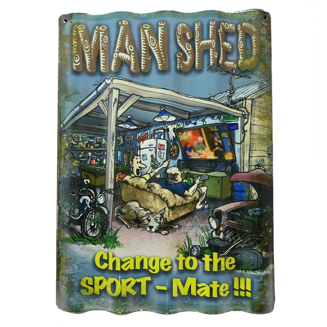 Man Shed Corrugated Tin Sign 40cm x 28cm Man Cave Pool Room