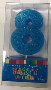 Blue Glitter Number 8 Cake Candle Birthday Celebration Party 6.5cm Topper