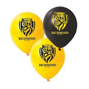 Richmond Tigers Official AFL x 6 Balloons Double Sided LAtex