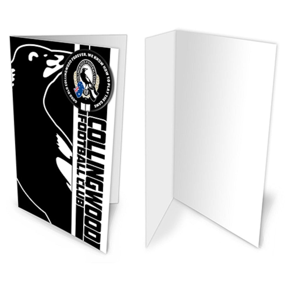 Collingwood Magpies Official AFL Greeting Card with Pin On Metal Badge