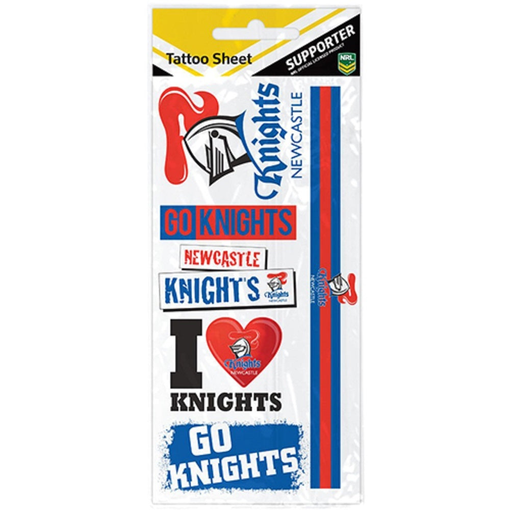 Newcastle Knights Footy Tattoos NRL Team Logo Official Licensed