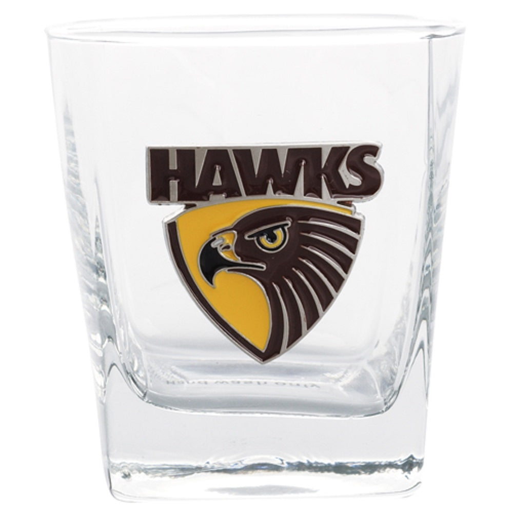 Hawthorn Hawks Official AFL 2 Spirit Glasses Metal Badge Gift Boxed