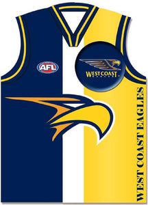West Coast Eagles Official AFL Greeting Card with Pin On Badge