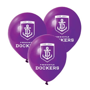 Fremantle Dockers Official AFL Pkt 25 Balloons Double Sided Print