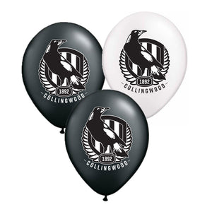 Collingwood Magpies Official AFL Pkt 25 Balloons Double Sided Print