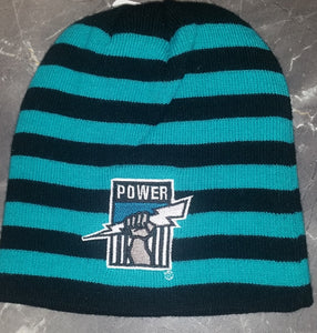 Port Adelaide Power Official AFL Striped Winter Supporter Beanie