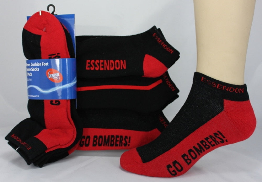 Esssendon Bombers Official AFL Mens Cushion Foot Ankle Socks - 3 pack