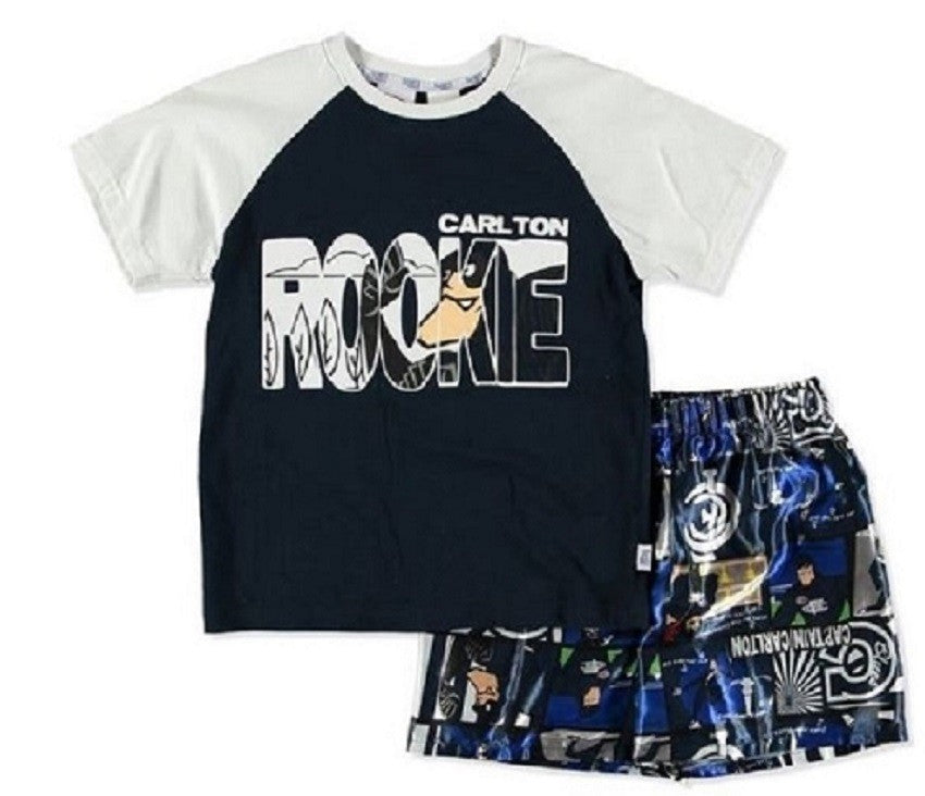 Carlton Blues Official AFL Toddler Summer Pyjamas Satin Boxers Tshirt