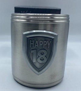 18th Birthday Stainless Steel Engravable with Badge Can Holder