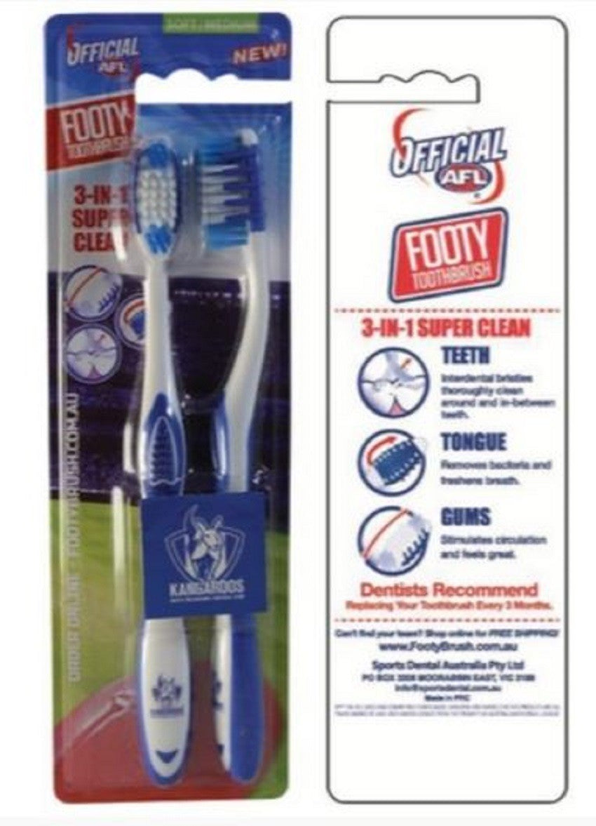 North Melbourne Kangaroos Adults and Children Official AFL Toothbrush Twin Pack