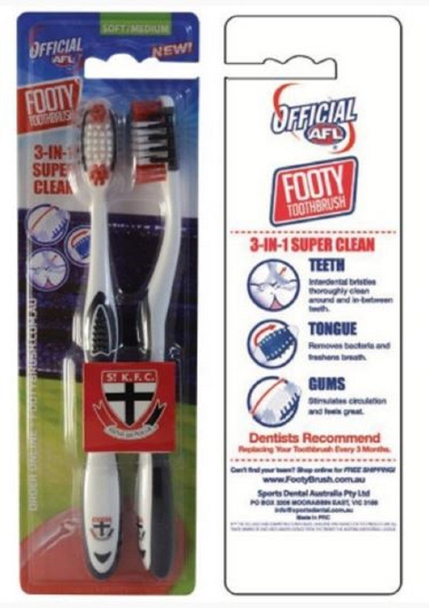 St Kilda Saints Adults & Children Official AFL Novelty Toothbrush Twin Pack