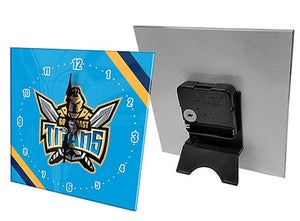 Gold Coast Titans Official NRL Mini Glass Desk Clock