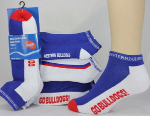 Western Bulldogs Official AFL Ladies/Youth 3 Pack Ankle Socks Shoe Size 3-8