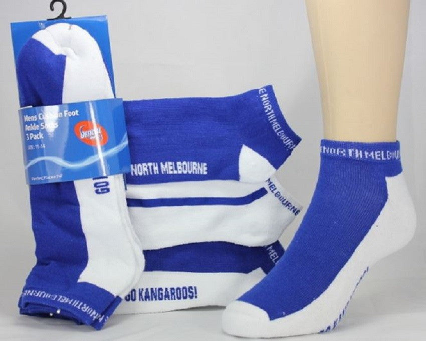 North Melbourne Kangaroos AFL Mens Cushion Foot Ankle Socks - 3 pack