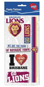 Brisbane Lions Footy Tattoos Set 6 AFL Team Logo Official Licensed