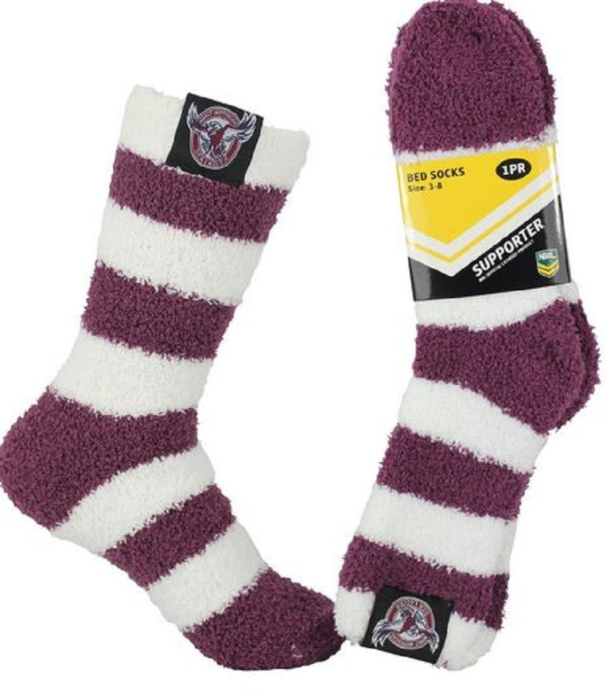 Manly Warringah Sea Eagles Official NRL Adult & Youth Comfy Bed Socks