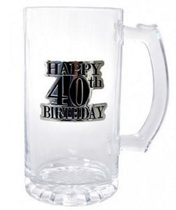 40th Birthday Glass Stein 600ml Beer Mug with Badge in Gift Box