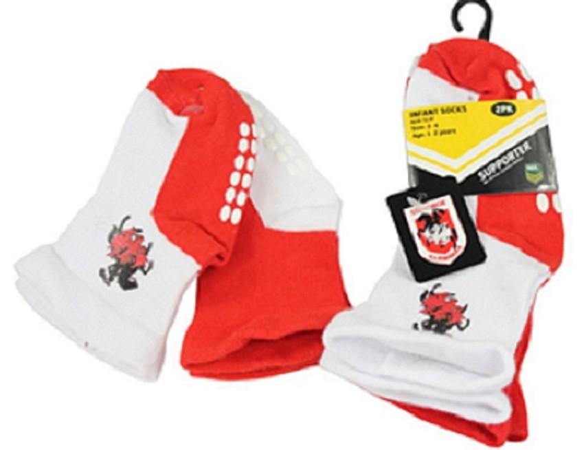 St George Illawarra Dragons Official NRL Baby Infant Non-Slip Socks 2 pack